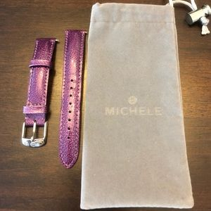 New purple 16mm leather Michele strap